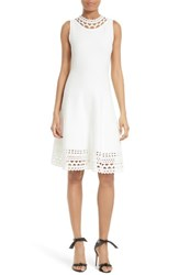 Milly Women's Laser Cut Knit Swing Dress White