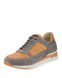 Stefano Ricci Perforated Suede And Leather Trainer Sneaker Orange