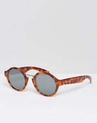 Mr Boho Mr. Round Sunglasses Hackney In Cheetah Tortoise With Silver Lenses Made In Italy Brown