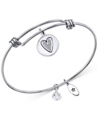 Unwritten Friendship Charm Adjustable Bangle Bracelet In Stainless Steel With Silver Plated Charms