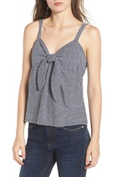 Socialite Knot Front Tank Top Navy Off White