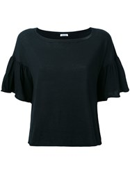 P.A.R.O.S.H. Ruffled Sleeves T Shirt Women Cotton S Black