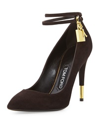 Tom Ford Suede Ankle Lock Pump Chocolate