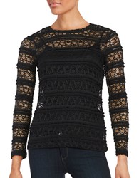 Lord And Taylor Petite Long Sleeve Ruffle Lace Mesh Tee Black