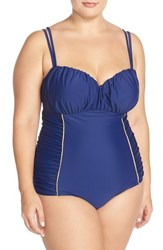 Plus Size Women's Jessica Simpson 'Sweet Sailor' Underwire One Piece Swimsuit Marine