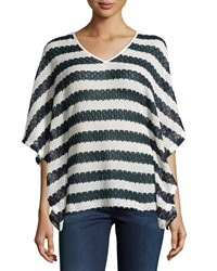 Neiman Marcus Metallic Striped Crochet Tunic Navy White