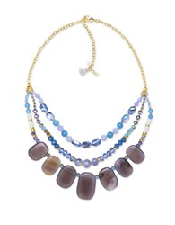 Lonna And Lilly Semi Precious Reconstituted Stone Frontal Necklace Blue