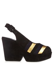 Sonia Rykiel X Robert Clergerie Dylan Suede Wedge Sandals Black Gold