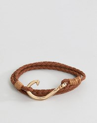 Burton Menswear Plaited Bracelet In Brown Brown