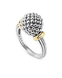 Lagos Sterling Silver Caviar Beaded Ring With 18K Gold Silver Gold