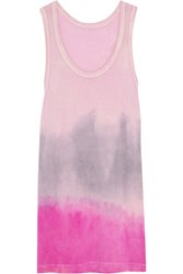 The Elder Statesman Tie Dye Cotton And Cashmere Blend Tank Pink