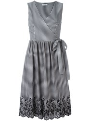 P.A.R.O.S.H. Striped Wrap Dress Grey
