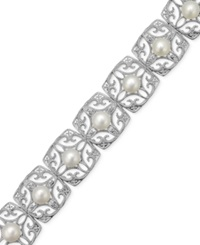 Macy's Cultured Freshwater Pearl 6 Mm And Diamond 1 5 Ct. T.W. Flower Bracelet In Sterling Silver White