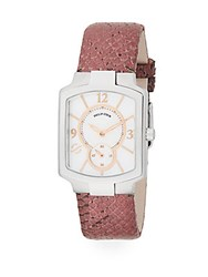 Philip Stein Teslar Classic Mother Of Pearl Stainless Steel And Embossed Leather Strap Chronograph Watch Dark Pink