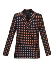 Cedric Charlier Double Breasted Check Jacquard Blazer
