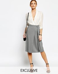 Love Wrap Skirt With D Ring Greycheckblack