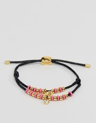 Juicy Couture Multi Strand Beaded Cord Bracelet Black