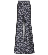 Etro Paisley Flared Satin Trousers Blue