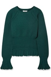 Opening Ceremony Ruffled Pointelle Trimmed Knitted Sweater Emerald