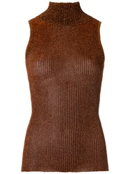 Gig Turtle Neck Knitted Tank Women Polyester P Brown