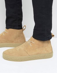 Asos Lace Up Chukka Boots In Stone Suede Stone