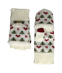 San Diego Hat Company Kng3475 Tree And Hearts Pop Over Gloves Ivory Extreme Cold Weather Gloves White