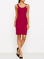 Versus By Versace Bodycon Lion Embellished Strap Dress Burgundy