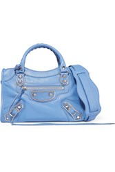 Balenciaga City Metallic Edge Mini Textured Leather Tote Blue