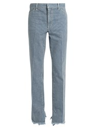 Toga Frayed Hem Striped Straight Leg Jeans Blue White