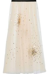 Red Valentino Redvalentino Woman Sequin Embellished Layered Point D'esprit Maxi Skirt Cream