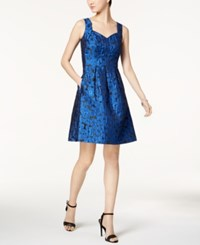Nine West Metallic Jacquard Fit And Flare Dress A Macy's Exclusive Style Cobalt