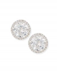 Frederic Sage White Topaz And Diamond Stud Earrings