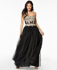 My Michelle Juniors' Strapless Metallic Embroidered Ball Gown Black Gold