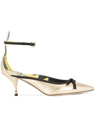 Rochas Pointed Toe Low Heel Pumps Yellow And Orange