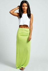 Boohoo Ruched Side Jersey Maxi Skirt Lime