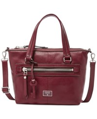 Fossil Dawson Leather Satchel Wine