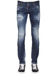 Dsquared 16.5Cm Long Clement Distress Denim Jeans