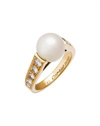 Cartier Estate 18K Freshwater Pearl And Diamond Ring Size 6.5