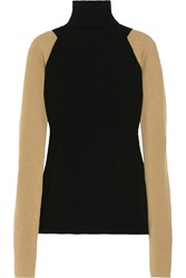 Victoria Beckham Two Tone Ribbed Cashmere Turtleneck Sweater Black