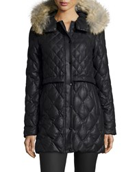 Andrew Marc New York Diamond Quilted Parka W Fur Hood Women's Black