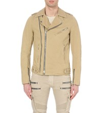 Balmain Biker Cotton Blend Blouson Jacket Beige