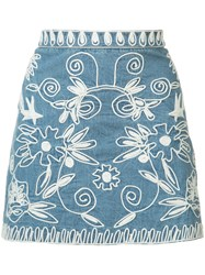 Alice Olivia Embroidered Denim Skirt Blue