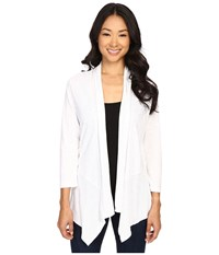 Lilla P Pima Modal Slub 3 4 Sleeve Open Cardigan White Women's Sweater
