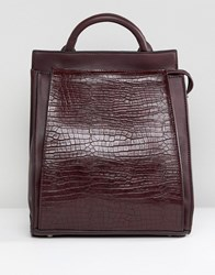 Liquorish Croc Effect Backpack Burgundy Red