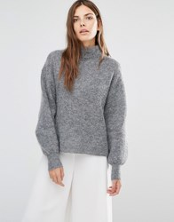 Warehouse Bell Sleeve Mohair Jumper Charcoal Grey