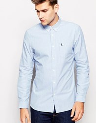 Jack Wills Shirt In Stripe Oxford Blue Lightbluestripe
