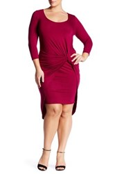 Vanity Room Knotted 3 4 Length Sleeve Dress Plus Size Pink