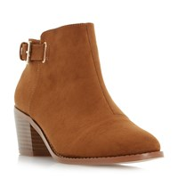 Head Over Heels Priyanka Buckle Block Heel Ankle Boots Tan