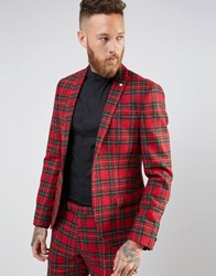Noose And Monkey Woven In England 100 Wool Tartan Blazer In Skinny Fit Red