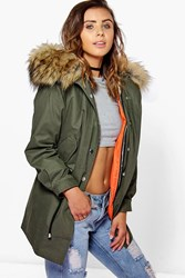 Boohoo Petite Liv 2 In 1 Zip Out Parka With Faux Fur Hood Khaki